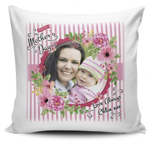 Personalised Happy Mothers Day Image & Text Cushion Cover